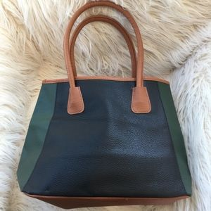 NWOT Neiman Marcus Hunter Green/Black/Camel Tote